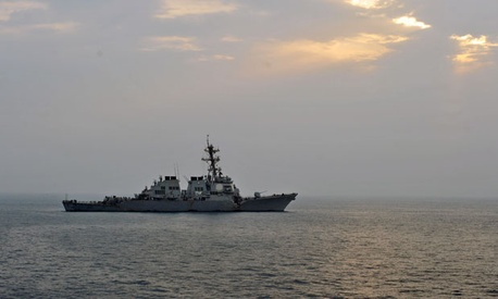 The guided-missile destroyer USS Porter is shown after the incident.