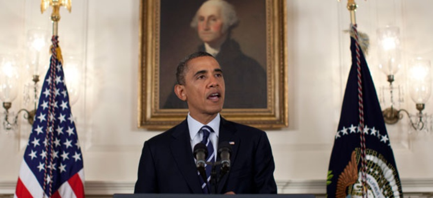 Obama spoke to the nation about preparedness for Tropical Storm Isaac in the Diplomatic Room of the White House Tuesday.