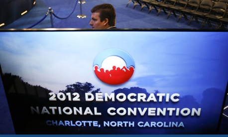 A Secret Service agent stands guard at the Democratic National Convention in Charlotte.