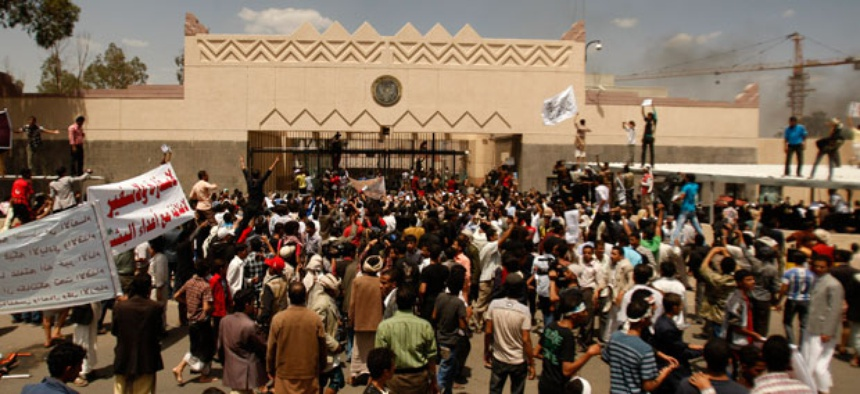 Yemenis protest in front of the U.S. Embassy Thursday.