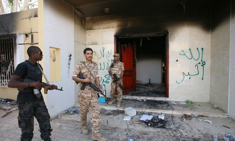 Security personnel guard the U.S. Consulate in Benghazi.