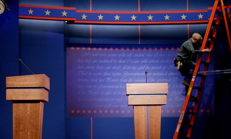 The stage is prepared for Wednesday's debate.