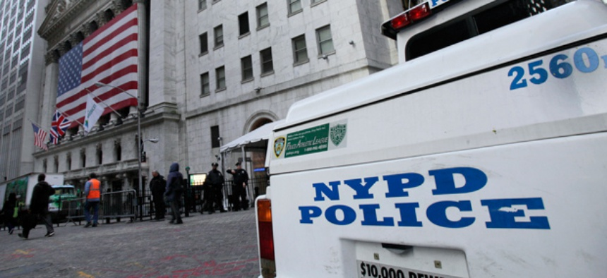 A New York City Police Department vehicle is parked near the New York Stock Exchange the morning of the attempted attack.