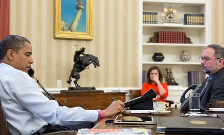 President Obama meets with FEMA Administrator Craig Fugate on Oct. 26