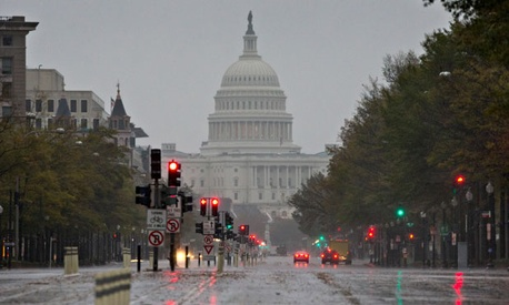 The storm drenched Washington Monday