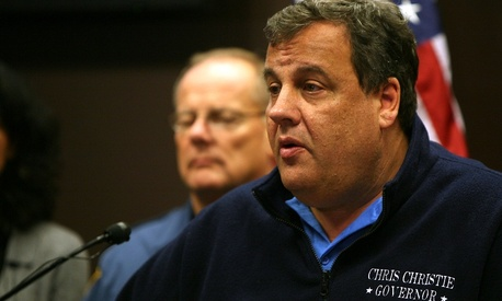 Governor Chris Christie updates the media on the state of the state after severe weather conditions from Hurricane Sandy at the Regional Operations and Intelligence Center (ROIC) in Ewing, N.J. on Tuesday, Oct. 30, 2012