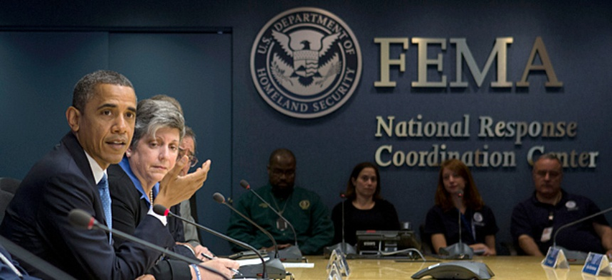 President Obama speaks at FEMA Headquarters in Washington in the aftermath of Hurricane Sandy.