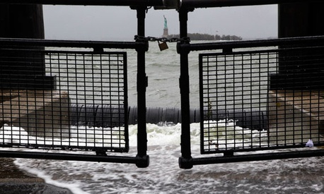 New York's Battery Park was one of the public areas affected by Sandy. The park also looks at Liberty Island, a National Monument.