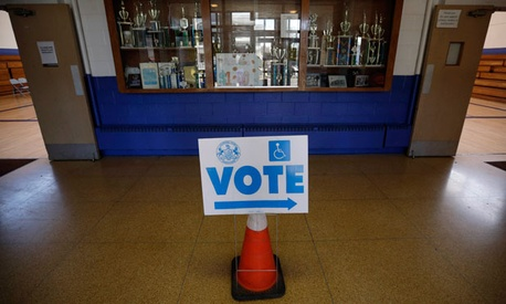 A sign shows voters the poling place in Scranton.