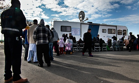 Victims of superstorm Sandy wait in line to apply for recovery assistance at a FEMA processing center in Coney Island on Friday, Nov. 2.
