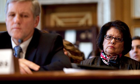 Elouise Cobell, right, looks on as Deputy Secretary of the Interior David Hayes testifies during a Senate Indian Affairs Committee hearing in Washington, D.C. in Dec. 2009.
