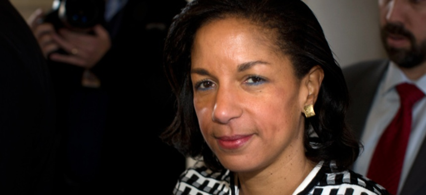 UN Ambassador Susan Rice leaves a meeting on Capitol Hill in Washington, Wednesday, Nov. 28.