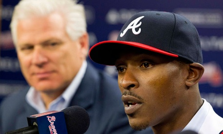 B.J. Upton, right, signed a free agent deal with the Atlanta Braves last week.