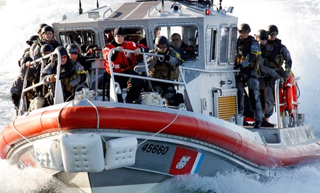 A U.S. Coast Guard boat during a training drill