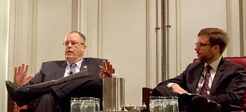 Undersecretary of the Navy Bob Work, left; Undersecretary of the Air Force Jamie Morin, right