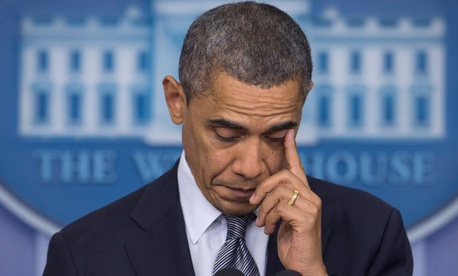 Obama wiped away tears before he spoke Friday.