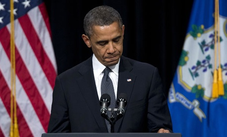 Obama spoke at a vigil for the victims of the Sandy Hook Elementary School shooting on Sunday