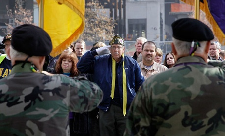 Veterans attend a Veterans Day parade on Long Island in November.