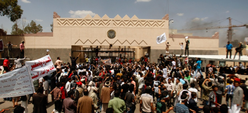 Yemenis protest in front of the U.S. Embassy in Sanaa, Yemen.