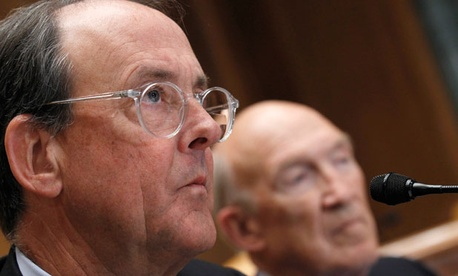 Erskine Bowles, left, and  former Wyoming Sen. Alan Simpson testified before Congress in 2010.