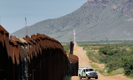 A CBP vehicle patrols the border in Arizona in 2010.
