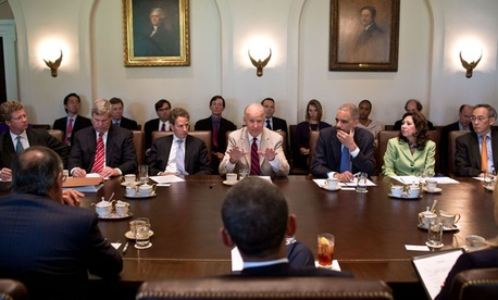 Vice President Joe Biden addresses Barack Obama and the cabinet in 2012.