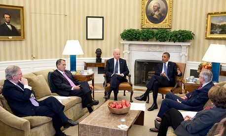 After returning early from his Christmas vacation, the President with the Vice President meets in the Oval Office with the leadership of Congress to discuss the fiscal cliff, Dec. 28, 2012.