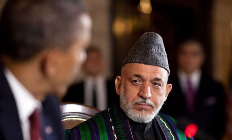 Obama met with Hamid Karzai at the Presidential Palace in Kabul.