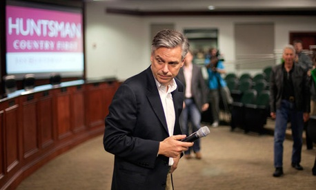Republican presidential candidate former Utah Gov. Jon Huntsman finishes speaking during a campaign stop Wednesday, Jan. 11, 2012, in North Charleston, S.C. (AP Photo/David Goldman)