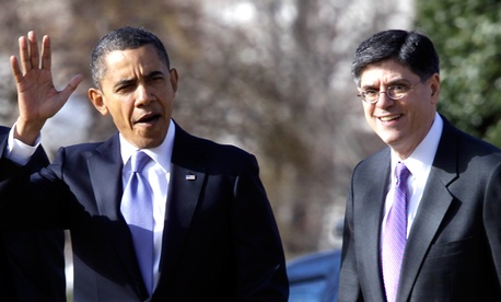 President Barack Obama and former White House chief of staff Jack Lew