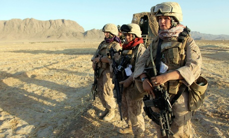 U.S. Marine Female Engagement Team members Lance Cpl. Mary Shloss, right, Sgt. Monica Perez, center, and Cpl. Kelsey Rossetti in Afghanistan.