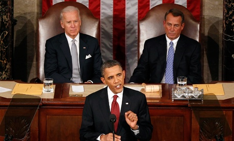 President Barack Obama gestures while giving his State of the Union address in 2012.