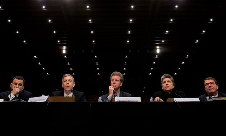 U.S. Controller Danny Werfel; Education Secretary Arne Duncan; HUD Secretary Shaun Donovan; DHS Secretary Janet Napolitano; and Deputy Defense Secretary Ashton Carter prepare to testify before a Senate committee on Thursday.