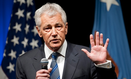 New Defense Secretary Chuck Hagel speaks to service members and civilian employees at the Pentagon.