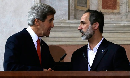 John Kerry met with Syrian National Coalition President Mouaz al-Khatib Thursday in Italy.