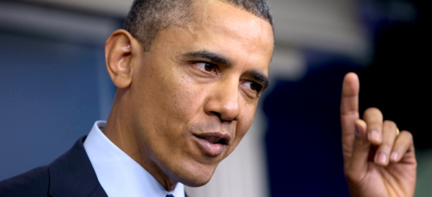 President Barack Obama speaks to reporters following a meeting with congressional leaders regarding the automatic spending cuts.