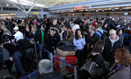 A 2010 snow storm forced air travelers to wait in long lines at John F. Kennedy International Airport.