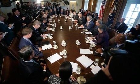 Obama spoke to the news media before a meeting of his Cabinet Monday.