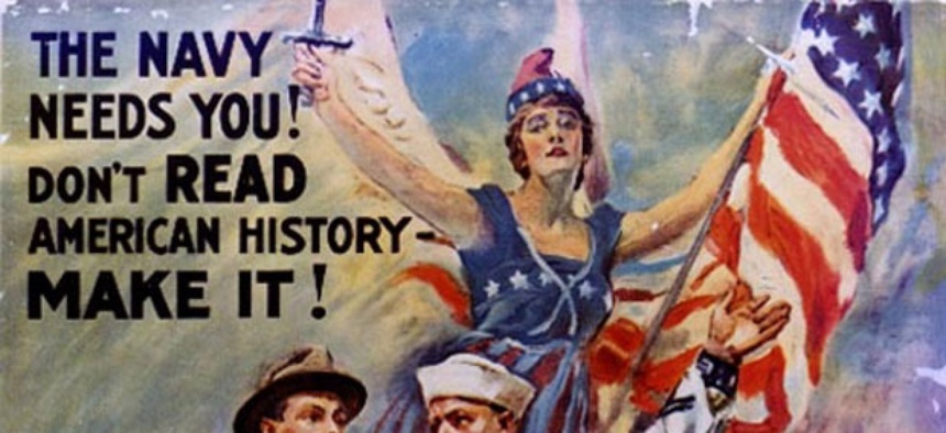 World War I recruiting posters often used Columbia as a symbol.
