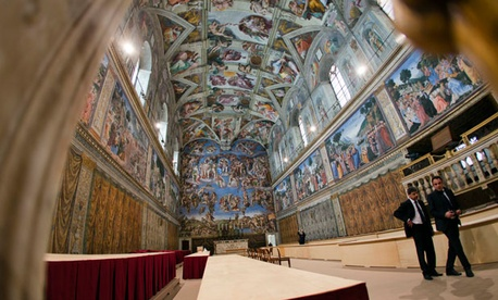 The Sistine Chapel is prepared for the Papal Conclave, set to begin this week.