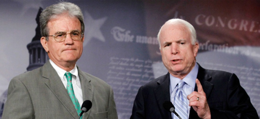 GOP Sens. John McCain, right, and Tom Coburn, had requested more time to review the Democratic proposal.