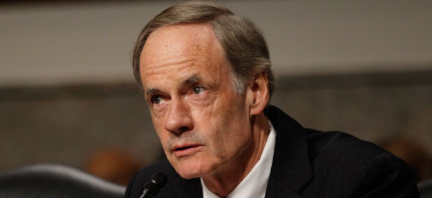 "The absence of timely budgets creates ""an uncertainty tax,"" Sen. Thomas Carper, D-Del., said."