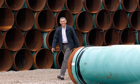 President Barack Obama arrives at the TransCanada Stillwater Pipe Yard in Cushing, Okla.