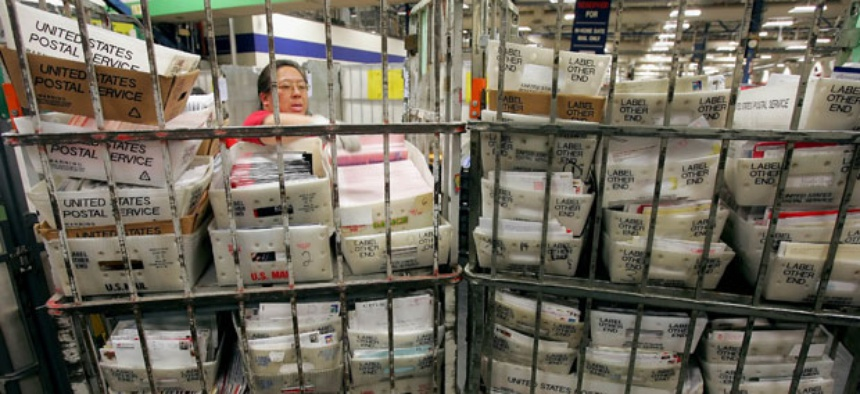 Mail is processed at a center in San Francisco.