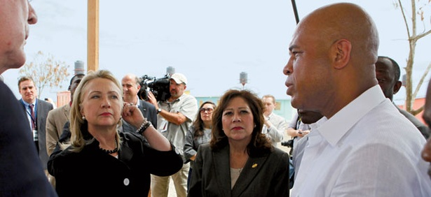 In their former Cabinet roles, Hillary Clinton (left) and Hilda Solis met with Haitian President Michel Martelly.