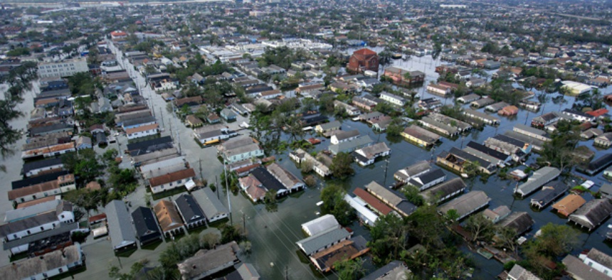 This aerial photo from 2005 shows the devastation caused by the high winds and heavy flooding in the greater New Orleans area following Hurricane Katrina.