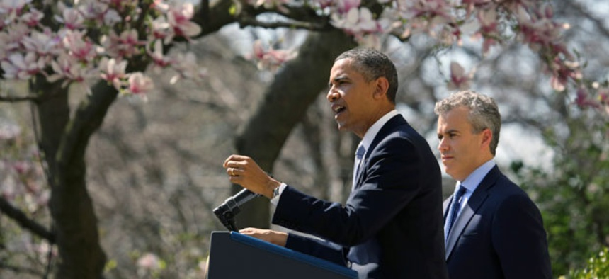 President Barack Obama, accompanied acting Budget Director Jeffrey Zients speaks in the Rose Garden at the White House.