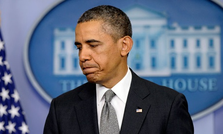 President Barack Obama finishes speaking in the Brady Press Briefing Room about the Boston Marathon explosions.