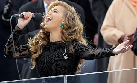 Beyonce sings the national anthem at the ceremonial swearing-in at the U.S. Capitol during the 57th Presidential Inauguration in Washington.