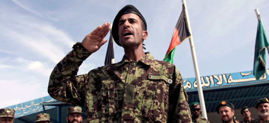A graduate gestures during a graduation ceremony in Herat, Afghanistan in April.